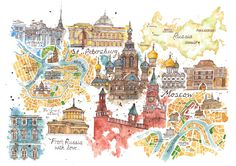 Travel infographic Jess Stewart-Croker Illustration: From Russia With Love Illustrated Map Travel Maps, Travel Posters, Travel Europe, Maps Posters, Travel Photos, Moscow Map, Zentangle, Russia Map, Travel Sketchbook