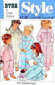 Girls Nightgowns, Dressing Gowns and PJs,  Sizes  4  Simplicity 3732  UNCUT Sewing Pattern by LaraineRoseHandiWorx on Etsy