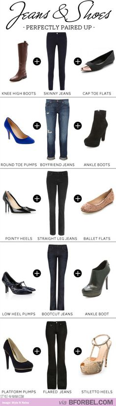 Cheat Sheet: Jeans And Shoes That Match…