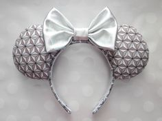 Spaceship Earth/Future World Inspired Mouse Ears Headband, Custom Ears, Exclusive Fabric Design Disney Ears Headband, Diy Disney Ears, Disney Headbands, Disney Mickey Ears, Disney Bows, Disney Gift, Ear Headbands, Disney Outfits, Disney Fashion