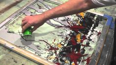 William Hall Mixed media abstract painting demonstration #2