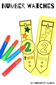 Teach your students to recognize numbers to 20 with this FUN activity! Children should color their watch, cut it out and then wear it for the day. An ENGAGING way to get children excited about learning numbers! Hands On Learning, Learning Activities, Teaching Ideas, Math Games, Fun Games, Maths, Learning Numbers, Writing Numbers, Activity Centers