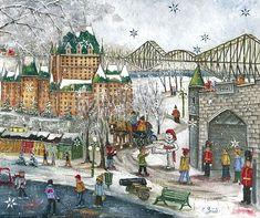 VENDU Carnaval de Québec site Quebec Winter Carnival, Winter Wolves, Cute Little Houses, Urban Painting, Pedestrian Bridge, Winter Art, Canadian Artists, Muted Colors, Winter Scenes