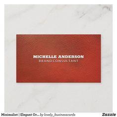 Minimalist | Elegant Orange Leather Business Card