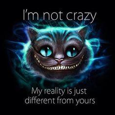 Gato / Cheshire cat - Eu não sou louco. Minha realidade é apenas diferente da sua. - Alice no país das Maravilhas.