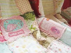 Memory quilt made from old baby clothes