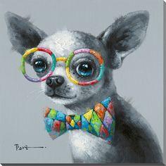 Description : Peinture à l'huile avec image de chien en noir et gris . Il porte des lunette multicolore ainsi que une boucle multicolore. Le chien est un chiwawa . J'ai choisi cette image ,car j'aime les chiens et j'aime le style de mettre l'élément important en couleur. Les lunettes et la boucle donnent un style enfant et joyeux au chien. Il ressemble ainsi a un (clown) J'aime sont style chic et décontracté .