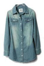 Blue Lapel Long Sleeve Pockets Denim Blouse $36.77