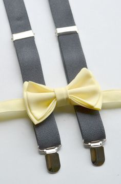 SHIPS SAME DAY Suspenders Bow Tie  Yellow Bow Tie  by armoniia
