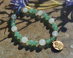 Arcangel Raphael bracelet with Aventurine by CrystalMeB on Etsy