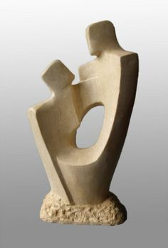 Ancaster stone Carved Stone, Marble, Alabaster, Soap Stone #sculpture by #sculptor John Brown titled: '`Attachment ll` Sculpture by John Brown' #art