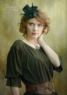 Fantastic #Steampunk #fascinator #hat made from draped green felt