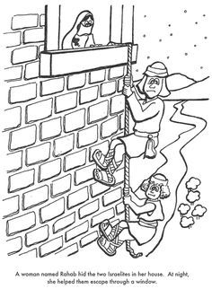 """Joshua 2; 6: The Conquest of Jericho; Rahab Craft: Have the kids sponge paint a brick wall on construction paper. Color and cut out the spy figures. Glue twine (""""rope"""") down the brick wall and make it look like the figures are climbing down."""