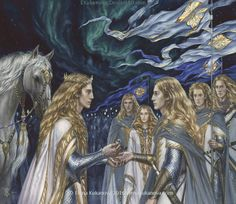 Lord of the Third House in Middle-Earth by EKukanova on DeviantArt. Left to right:  Finarfin, Orodreth, Galadriel, Finrod, Aegnor, Angrod.