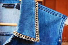 DIY: metal chain collar denim vest