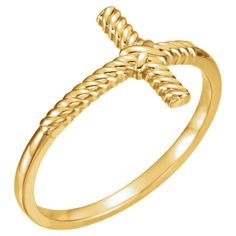 Size 7 - 14k Yellow Gold Rope Sideways Cross Ring Religious Jewelry Free Ship