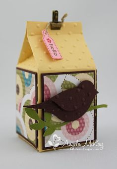 Stamp Set: Tiny Tags - Paper: So Saffron, Chocolate Chip, Sweet Pea DSP - Ink: Rose Red, Chocolate Chip - Embellishments: Mini Library Clips, Linen Thread - Sizzix: Mini Milk Carton, Perfect Polka Dots Textured Impressions Folder - Punches: Medium Jewelry Tag Punch and Extra Large Two-Step Bird