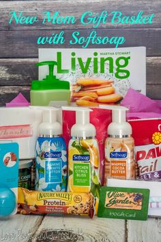 New Mom Gift Basket with Softsoap- Love, Pasta and a Tool Belt #FoamSensations #ad }  gift ideas   gift basket   new mom gift   new mom   baby gift  