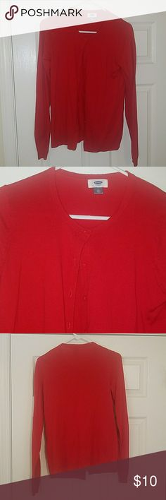 Button Down Cardigan - tall size -Practically new! Only worn once to an office holiday party -Red -Long Sleeves -Size Medium Tall Old Navy Sweaters Cardigans