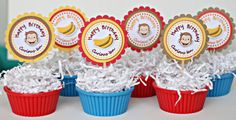 Personalized Curious George birthday party cupcake toppers / READY-MADE / set of 12 on Etsy, $10.00