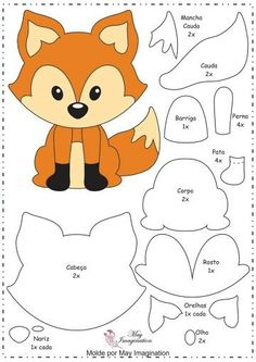 molde raposa de feltro - Pesquisa Google                                                                                                                                                                                 Mais