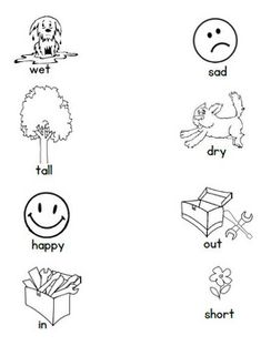 Opposites Matching Worksheet by Playful Learning Opposites Preschool, Opposites Worksheet, Emotions Preschool, Preschool Learning Activities, Kindergarten Learning, Free Preschool, Book Activities, Nursery Worksheets, Printable Preschool Worksheets