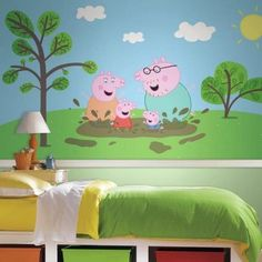 peppa pig mural xl rail chair strippable moose prepasted ultra murals enterprise roommates mates pasted panel pre roommatesdecor cool