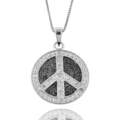 "0.25ct TDW Black and White Diamond Peace Sign Necklace w/18"" Chain Netaya. $54.95"