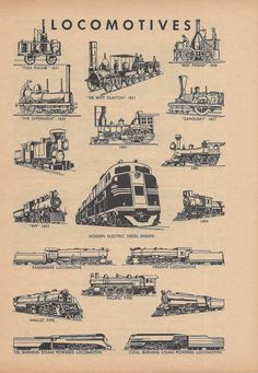 Locomotives, Trains, Railroads, Vintage Illustration, 1940s, Double Sided Print £6.26