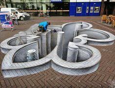 Wonderful Street Art created by talented artists Joe Hill and Max Lowry. Juandres Vera street art Learn how to make street art! 3d Street Art, Amazing Street Art, Street Art Graffiti, Street Artists, Amazing Art, Banksy, 3d Sidewalk Art, Pavement Art, 3d Chalk Art