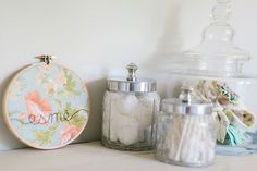 shabby chic nursery. pretty little containers for baby's things