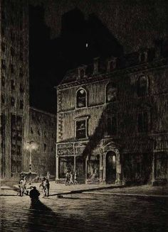 Martin Lewis.  The Great Shadow. 1925. Drypoint.  Probably East 34th St., NYC.