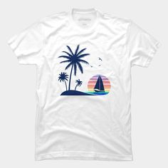 Vintage Beach Sunset Down the Coconut Trees Tees and t-shirt for summer. Best Graphic Tees T-shirt for summer at the beach!