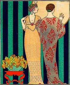 by George Barbier (b.1882 Nantes, France – d,1932) one of the great French illustrators of the early 20th century. In 1911, at 29 yrs old Barbier mounted his first exhibition & was subsequently swept to the forefront of his profession with commissions to design theatre and ballet costumes and to produce haute couture fashion illustrations.