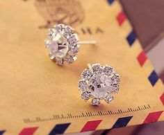 Spherical Crystal Flower Stud Earrings For Women Earings Fashion Jewelry