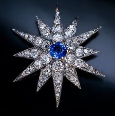 Victorian Antique Diamond Sapphire Star Brooch Pendant - Antique Jewelry | Vintage Rings | Faberge Eggs
