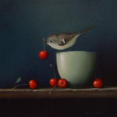 'Ruby Crowned Kinglet' by American painter Sarah Siltala. via the artist's site Still Life Drawing, Still Life Art, Paul Klee, Bird Illustration, Whimsical Art, Bird Art, Pet Birds, Photo Art, Cool Art