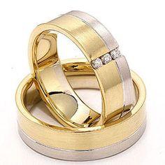 Tofarget Brede gifteringer i 14 karat gull og hvitt gull 3 x 0,03 ct - par