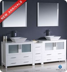 "84"" Fresca Torino (FVN62-361236WH-VSL) Modern Double Sink Bathroom Vanity w/ One Side Cabinet & Two Vessel Sinks – White #vanities #HomeRemodel #BathroomRemodel #BlondyBathHome #Freestanding"