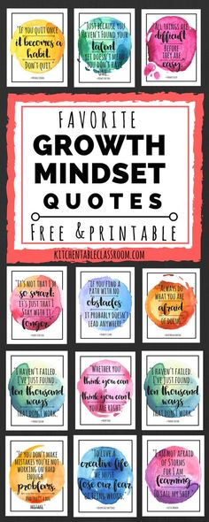 Mindset Quotes for Kids & Parents Check out these free printable quotes for some encouragement to keep up that growth mindset!Check out these free printable quotes for some encouragement to keep up that growth mindset! Free Printable Quotes, Free Printables, Growth Mindset Quotes, Growth Mindset For Kids, Growth Mindset Classroom, Bulletin Board Growth Mindset, Behavior Bulletin Boards, Growth Mindset Display, Growth Mindset Activities
