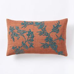 Beaded Bird Song Pillow Cover