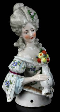 Huge 14 cm Antique Flapper Half Doll Lady Flower Vase Tunning Pincushion 2 | eBay