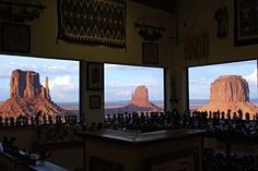 The dining room of the restaurant at the View Hotel in Monument Valley, Utah, looks out over East and West Mitten Buttes.
