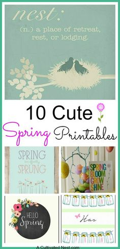 10 Cute Free Spring Printables. Are you ready for spring? I know I am! Here are some spring printables that you can easily print out at home and frame for some inexpensive spring home decor.