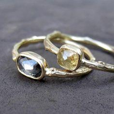 Rose Cut Twig Ring