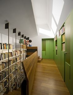 Library. The color green lights up the room