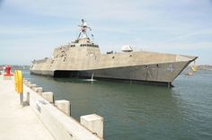 US Navy's 2,790-ton Coronado built by Austal USA Shipbuilding,Mobile,Ala.417feet long,waterline beam of 100feet,& navigational draft of 15feet.Uses 2 gas turbine & 2 diesel engines to power 4 steerable water jets to speeds in excess of 40 knots.LCS 4 Coronado 4th littoral combat ship & 2nd Independence variant.USS Coronado (LCS 4) will be outfitted with reconfigurable mission packages & focus on variety of mission areas including mine countermeasures, surface warfare & anti-submarine…