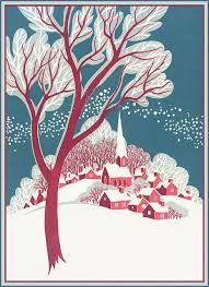 Image result for vintage christmas cards snow covered villages