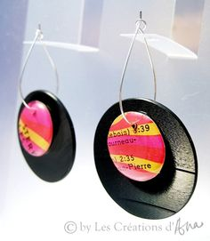 Recycled vinyl record earrings