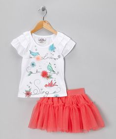 Take a look at this White Bird Tee  Vibrant Coral Skort by Beautees on #zulily today!